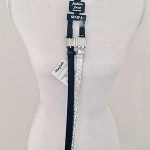 Thin Black Glitter and Silver Glitter Belts, Large